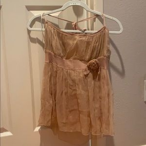 Max Studio Nude silk romantic halter top